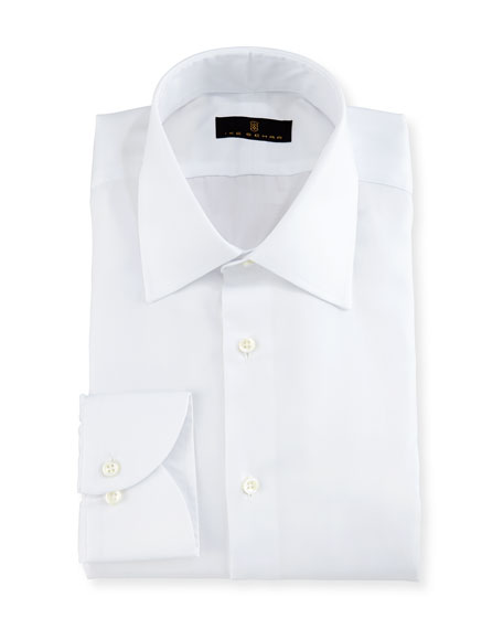 Gold Label Micro-Herringbone Dress Shirt, White
