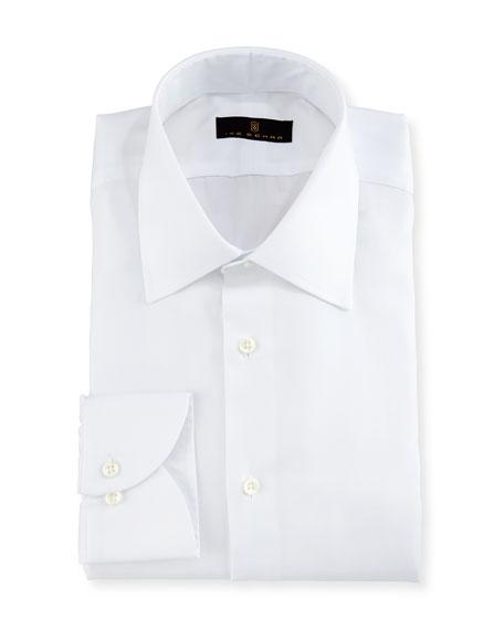 Ike behar gold label micro herringbone dress shirt white for White herringbone dress shirt