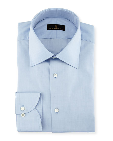 Ike Behar Gold Label Micro-Herringbone Cotton Dress Shirt