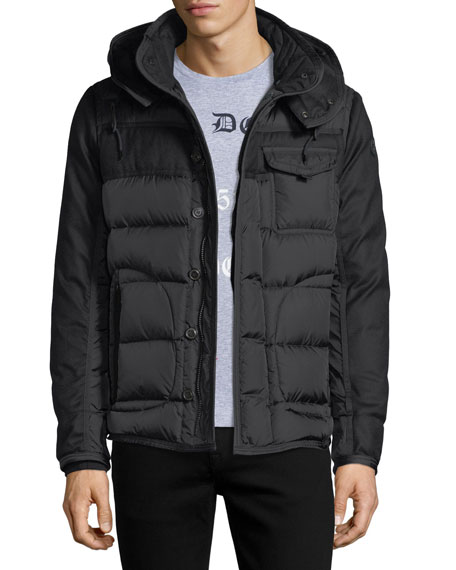 Moncler Ryan Mixed-Media Down Jacket
