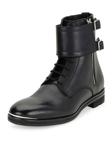 Alexander McQueen Leather Lace-Up Monk-Strap Boots, Black