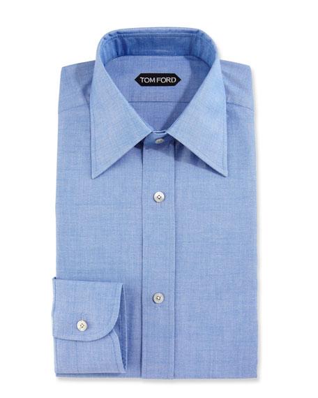 Slim-Fit Solid Dress Shirt, Blue