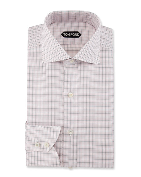 Slim-Fit Grid Check Dress Shirt, Pink