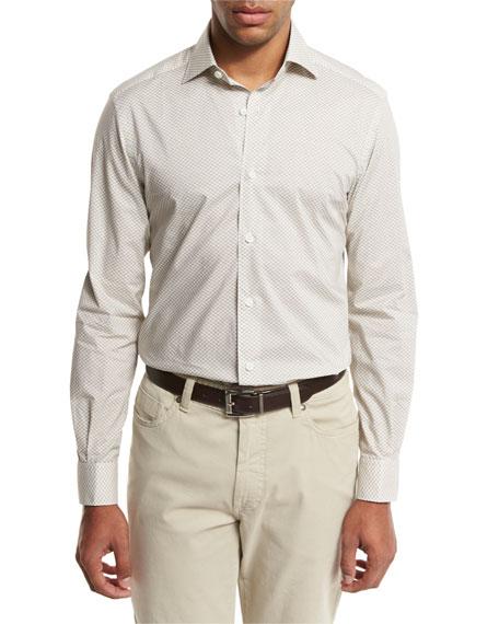 Ermenegildo Zegna Geo-Print Sport Shirt, Medium Beige