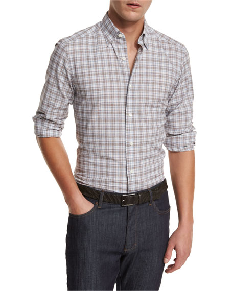 Ermenegildo Zegna Plaid Woven Sport Shirt, Brown