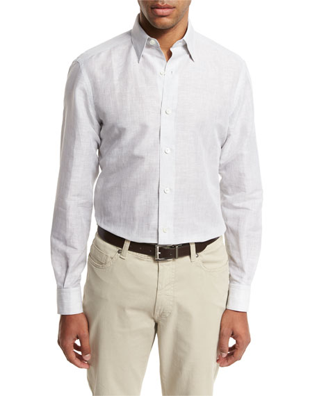 Ermenegildo Zegna Melange Linen-Cotton Sport Shirt, Light Gray