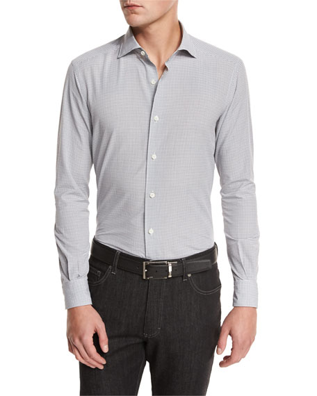 Ermenegildo Zegna Gingham Woven Sport Shirt, Medium Gray