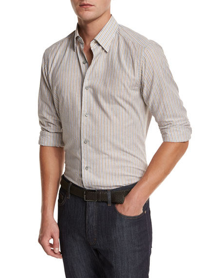 Ermenegildo Zegna Melange Striped Sport Shirt, Tan