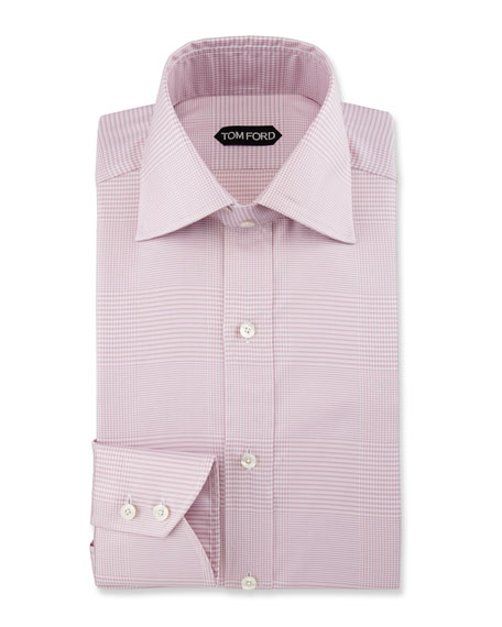 Slim-Fit Plaid Dress Shirt, Purple