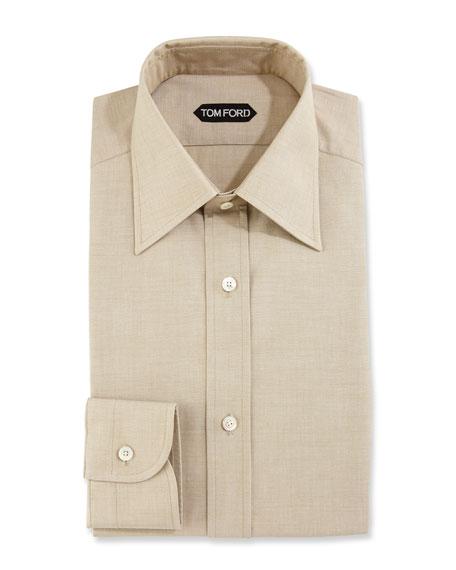 Slim-Fit Solid Dress Shirt, Green