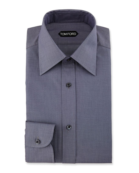Slim-Fit Textured Dress Shirt, Navy