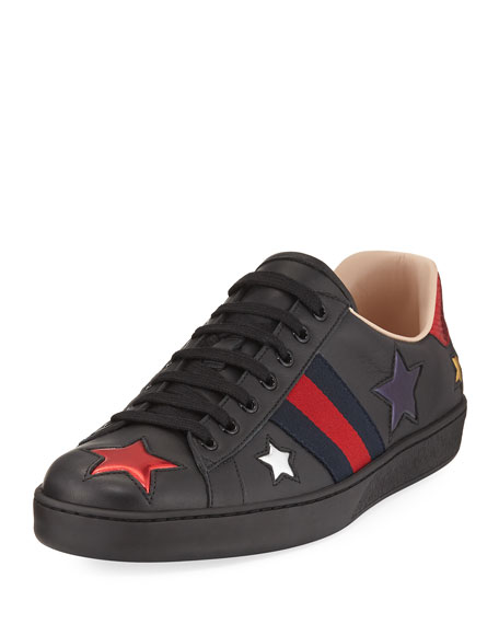 Gucci New Ace Star Low Top Sneaker Black Neiman Marcus