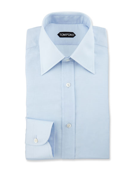 Slim-Fit Textured Dress Shirt, Light Blue