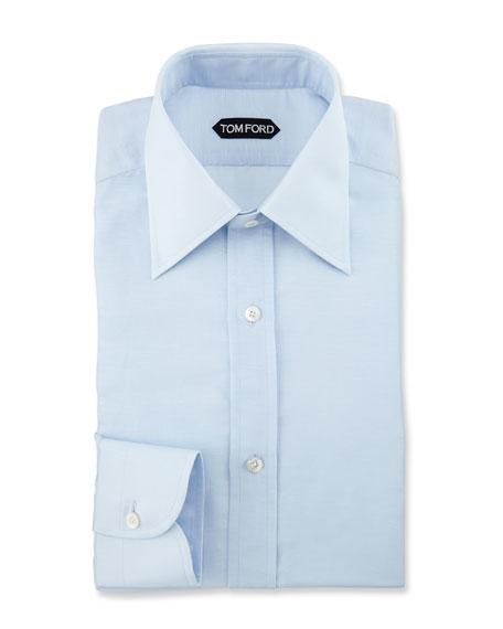 Slim-Fit Textured Dress Shirt, Light Blue