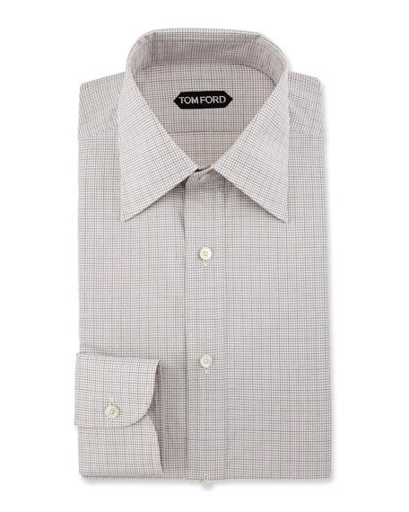 Slim-Fit Grid Check Dress Shirt, Brown