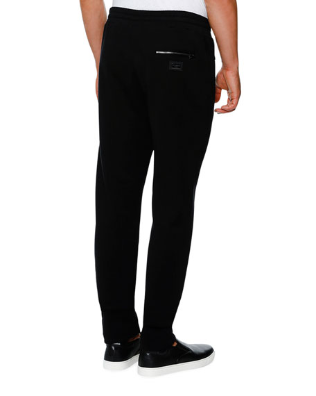 Zip-Pocket Drawstring Jogger Pants, Black
