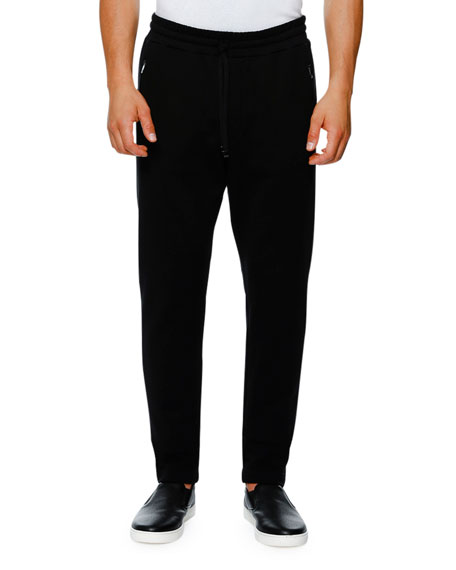 Dolce & Gabbana Zip-Pocket Drawstring Jogger Pants, Black