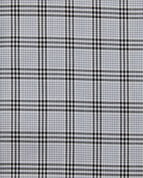 Slim-Fit Glen Plaid Dress Shirt, Black