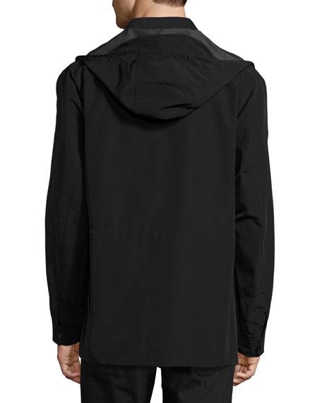 Hooded 4-Pocket Field Jacket, Black