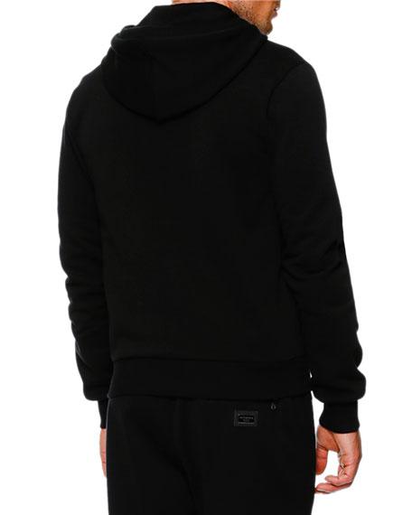 Zip Hoodie w/Logo Plaque, Black