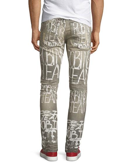Logo Graffiti-Paint Skinny Jeans, Gray