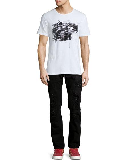 Distressed Slim-Straight Jeans w/Holes, Black