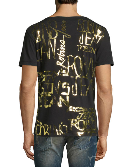 Golden Foil Logo T-Shirt, Black