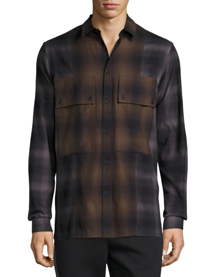 Gradient Plaid Large-Pocket Shirt, Brown