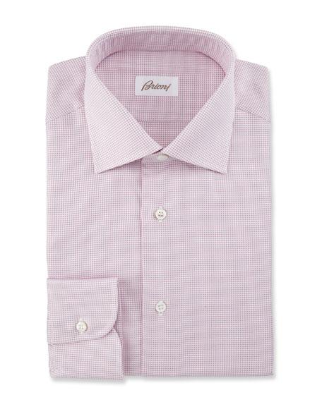 Textured Grid Dress Shirt, Pink