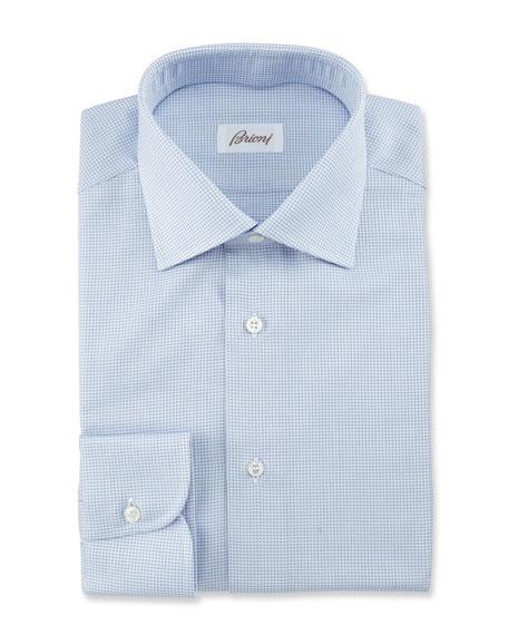 Textured Grid Dress Shirt, Blue