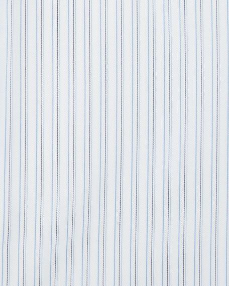 Striped Dress Shirt, White/Blue/Gray