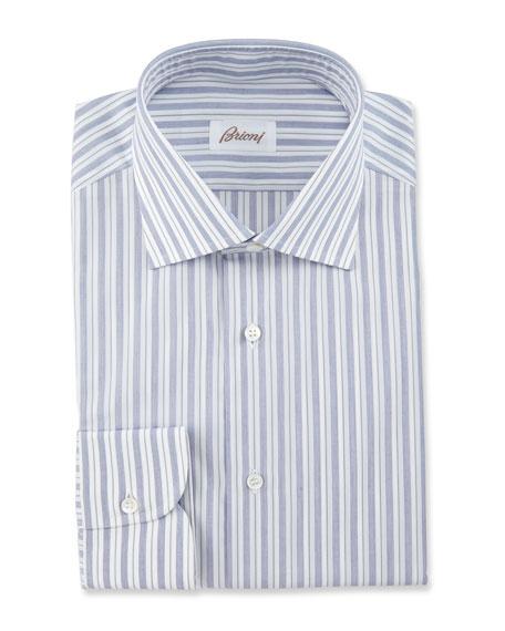 Brioni Bold-Stripe Dress Shirt, Navy/White