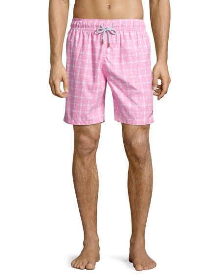 Guillauche Benjamin Printed Swim Trunks, Pink