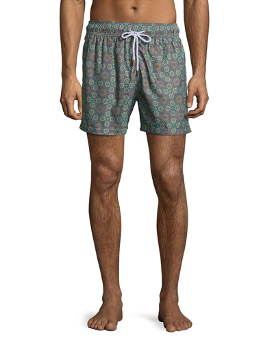 Psychedelic Moss Printed Swim Trunks, Green Pattern