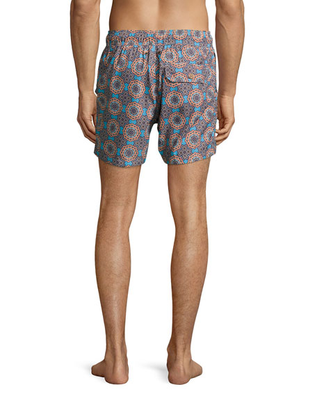 Psychedelic Mechanisms Printed Swim Trunks, Orange/Blue/Brown