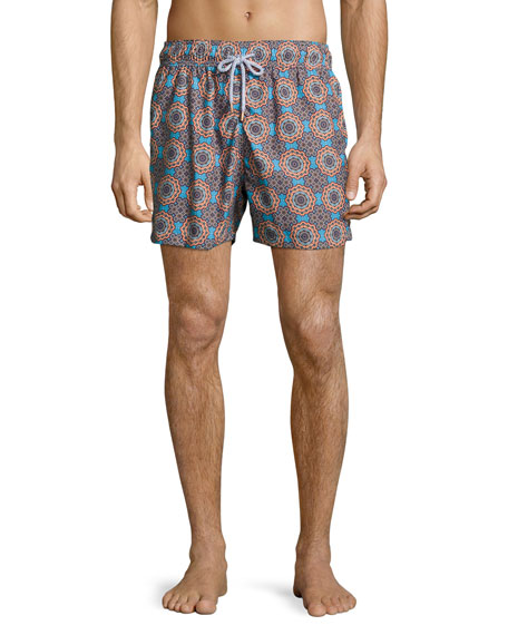 Retromarine Psychedelic Mechanisms Printed Swim Trunks,