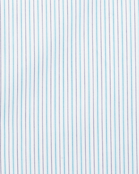 Fine-Stripe Dress Shirt, White/Aqua/Gray