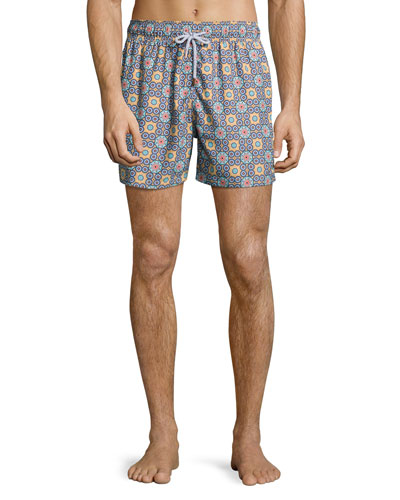 Psychedelic Kaleidoscopes Printed Swim Trunks, Blue Pattern
