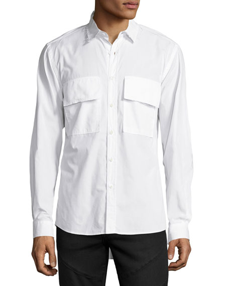 Public School Raw-Edge Button-Front Shirt, White