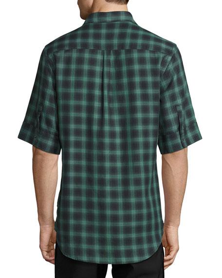Deconstructed Plaid Short-Sleeve Shirt, Dark Green