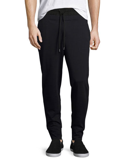 Public School Twill Ponte Double-Waist Jogger Pants, Black