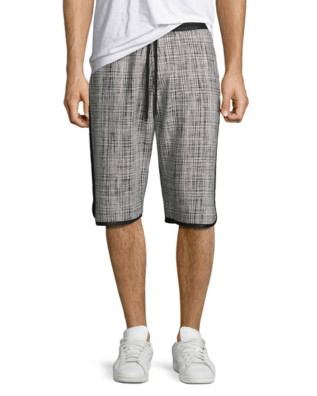 Public School Plaid Jacquard Nylon Shorts, Black