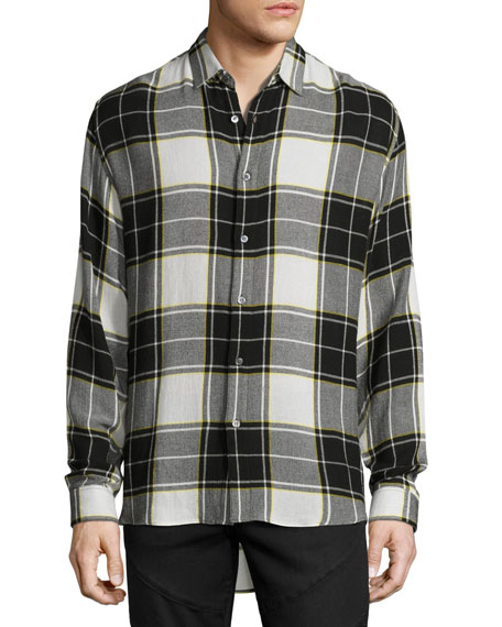 Flannel Plaid Back-Patch Shirt, Black/White/Yellow