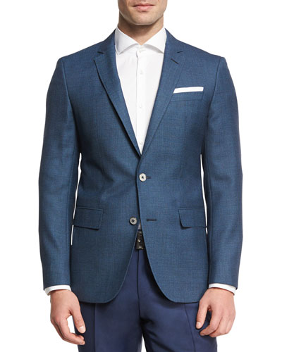 Birdseye Wool Two-Button Sport Coat, Bright Blue Teal