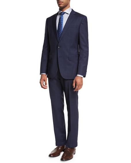 BOSS Tonal Windowpane-Check Two-Piece Suit, Navy