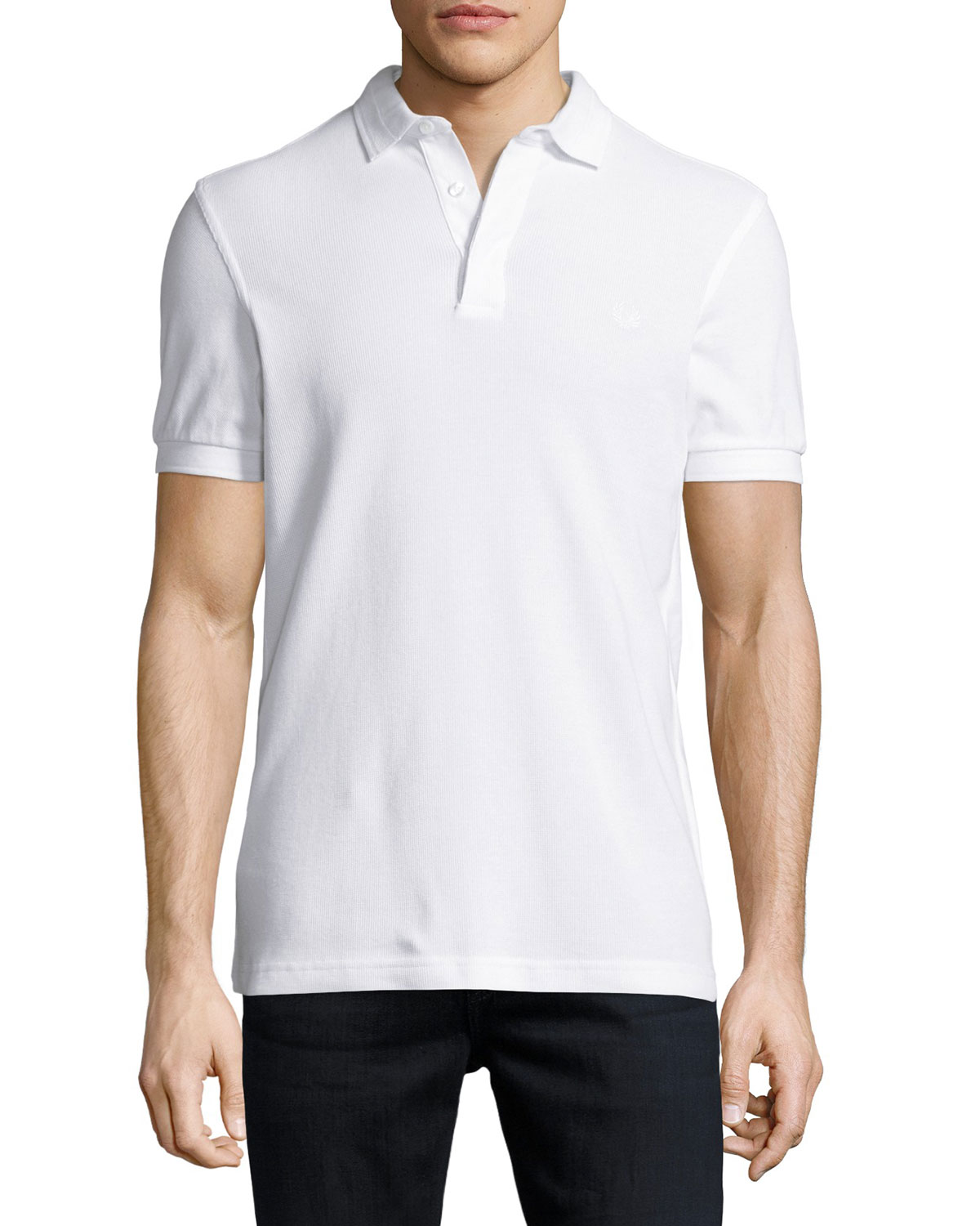 304bb3260 Fred Perry Tonal Textured Piqué Polo Shirt, White | Neiman Marcus