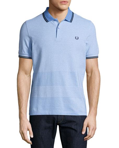 Fred Perry Oxford-Stripe Piqué Polo Shirt, Light Blue