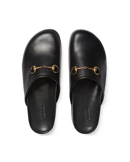 Horsebit Leather Slipper, Black