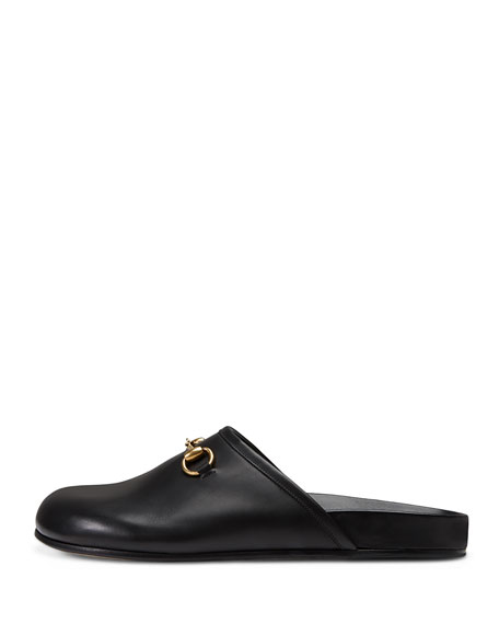 Horsebit Leather Slipper, Black