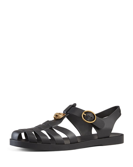 Gucci Rubber Buckle Strap Sandal, Black